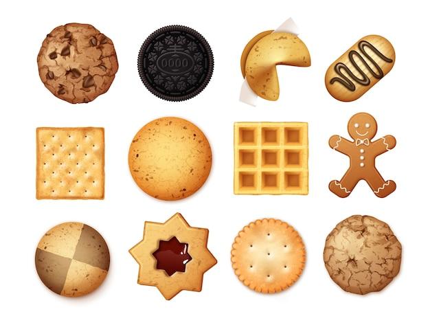 Ensemble réaliste de différents biscuits au chocolat et aux pépites de biscuit