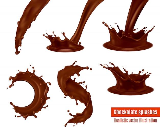 Ensemble réaliste d'éclaboussures de chocolat