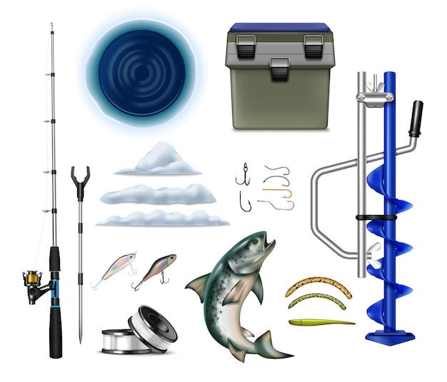 Ensemble réaliste d'équipement de pêche d'hiver avec du matériel de pêche isolé s de tiges crochets perceuse brise-glace