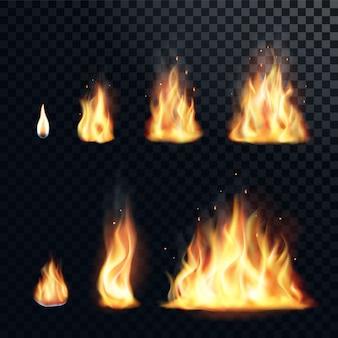 Ensemble réaliste de flamme de feu