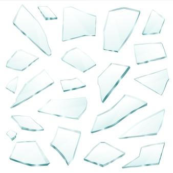 Ensemble réaliste de fragments de verre brisé