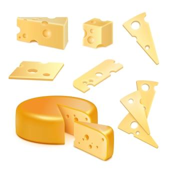 Ensemble réaliste de fromage