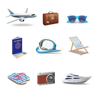 Ensemble réaliste d'icônes de voyage