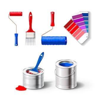 Ensemble réaliste d'illustration d'outils de peinture