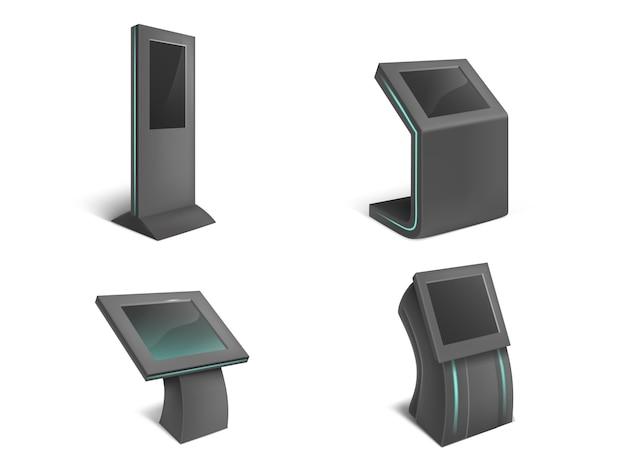 Ensemble réaliste de kiosques interactifs d'information, stands noirs avec écran tactile vide