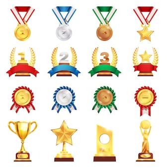 Ensemble réaliste de médaille de trophée