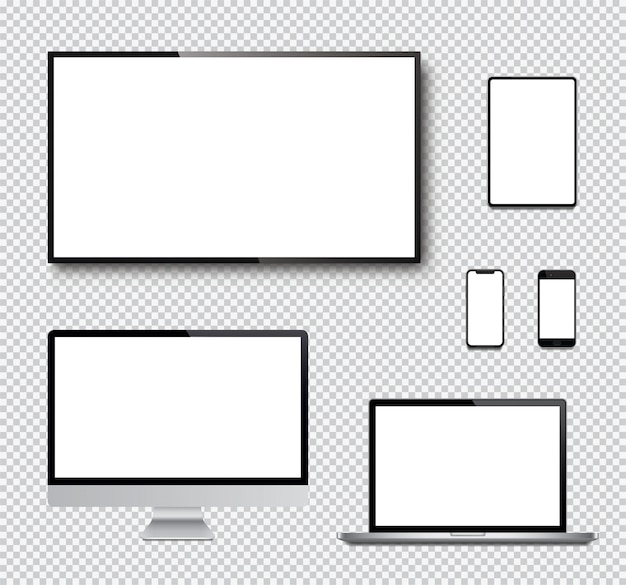 Ensemble réaliste de moniteur, ordinateur portable, tablette, smartphone et écran de télévision