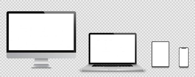 Ensemble réaliste de moniteur, ordinateur portable, tablette, smartphone