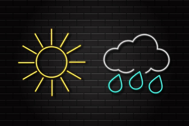 Ensemble réaliste de néons rétro enseignes pour les icônes météo sur le fond du mur pour la décoration et la couverture. concept d'environnement et de climat.