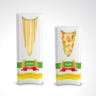 Ensemble réaliste de paquet de pâtes