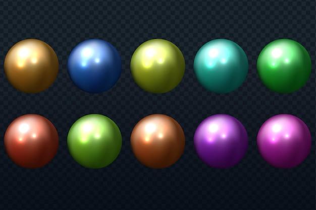Ensemble réaliste de perles isolé sur fond transparent