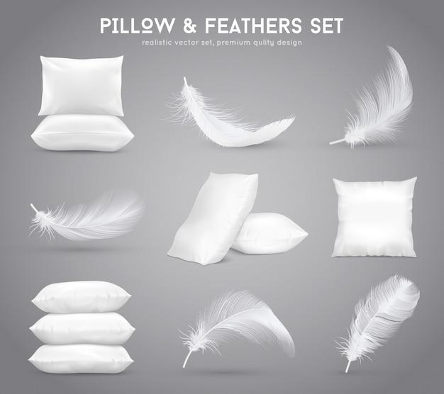 Ensemble réaliste de plumes et d'oreillers