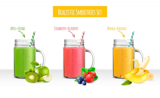 Ensemble réaliste de pots de smoothies