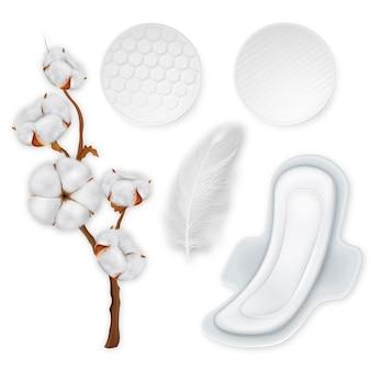 Ensemble réaliste de produits d'hygiène en coton. tampons en coton doux avec des ailes.
