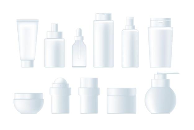 Ensemble réaliste de publicité de bouteille vide de cosmétiques