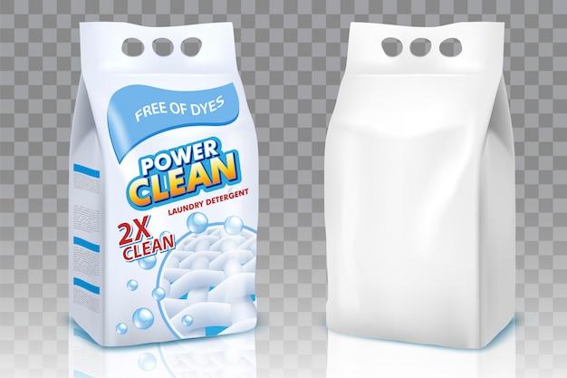 Ensemble réaliste de sacs de poudre à laver