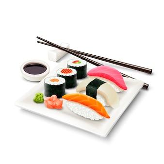 Ensemble réaliste de sushi