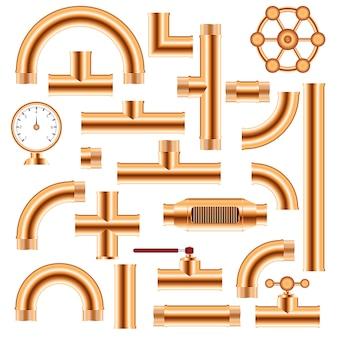 Ensemble réaliste de tuyaux en cuivre