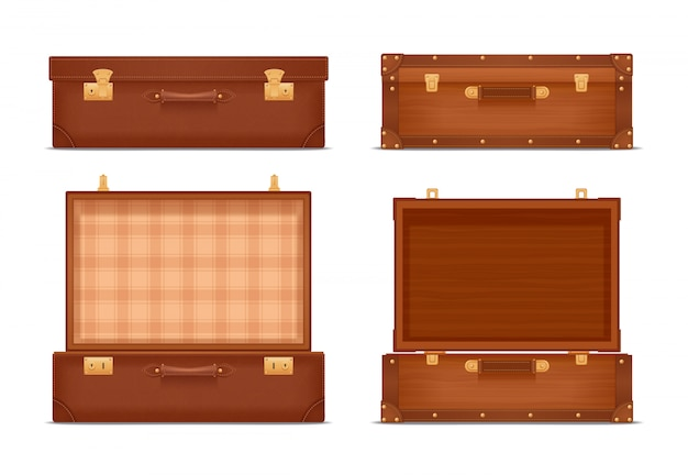 Ensemble réaliste de valises vintage fermées et ouvertes
