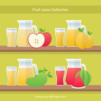 Ensemble de récipients avec de délicieux jus de fruits