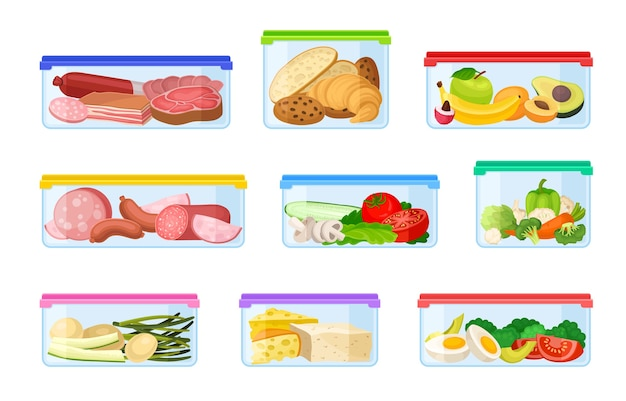 Ensemble de récipients avec des légumes et de la viande