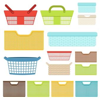 Ensemble de récipients et paniers en plastique vides pour la salle de bain ou les magasins