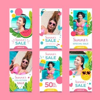 Ensemble de récits instagram de vente d'été