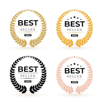 Ensemble de récompenses logo insigne best seller. illustration du meilleur vendeur gagnant d'or et noir.