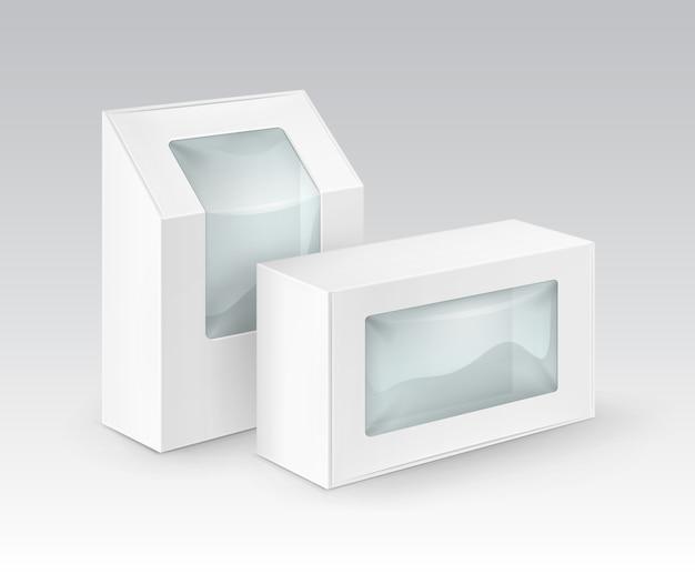 Ensemble de rectangle en carton blanc blanc à emporter boîtes d'emballage pour sandwich, nourriture, cadeau, autres produits avec fenêtre en plastique maquette gros plan isolé