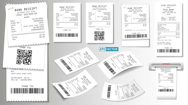 Ensemble de reçu de vente de caisse enregistreuse réaliste isolé ou papier blanc imprimé de reçu de caisse