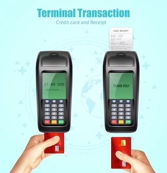 Ensemble de reçus de paiement pour cartes de crédit