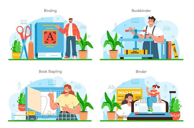 Ensemble de reliure de livre. technologie des imprimeries, publications imprimées