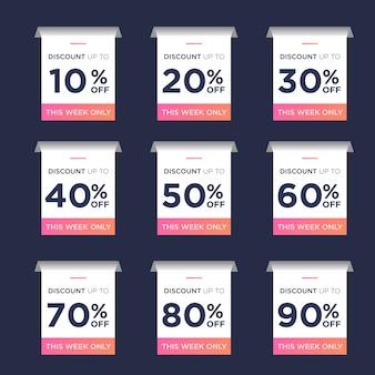 Ensemble de remise d'étiquette de prix de vente avec un pourcentage différent