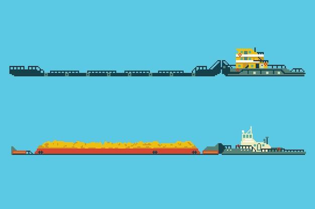 Ensemble de remorqueur avec cargaison en vrac dans un style art 8 bits. illustration vectorielle de pixel coloré.