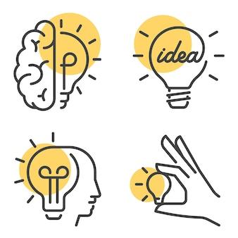 Ensemble de remue-méninges et concept d'idée