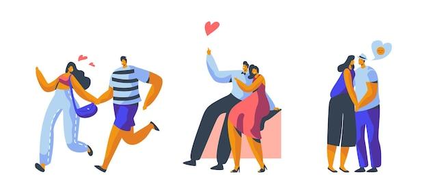 Ensemble de rencontres amour couple caractère.