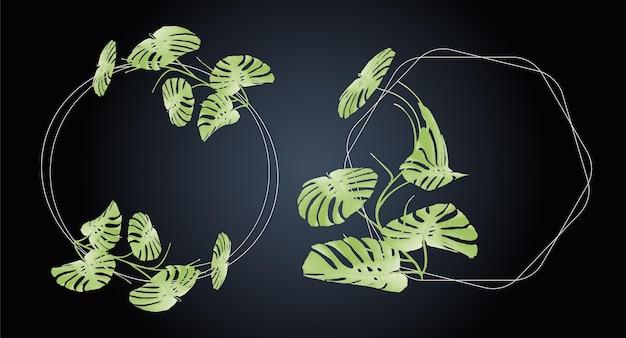 Ensemble de renommée florale aquarelle avec des feuilles