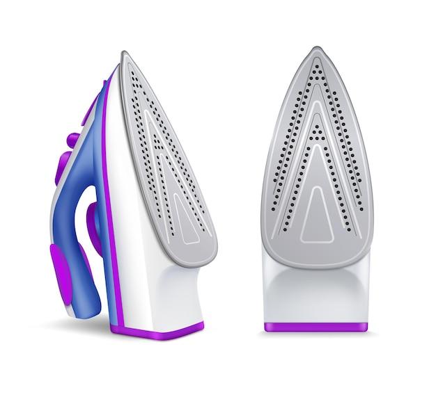 Ensemble de repassage en fer réaliste avec deux positions de fers à repasser illustration de couleurs bleu et violet