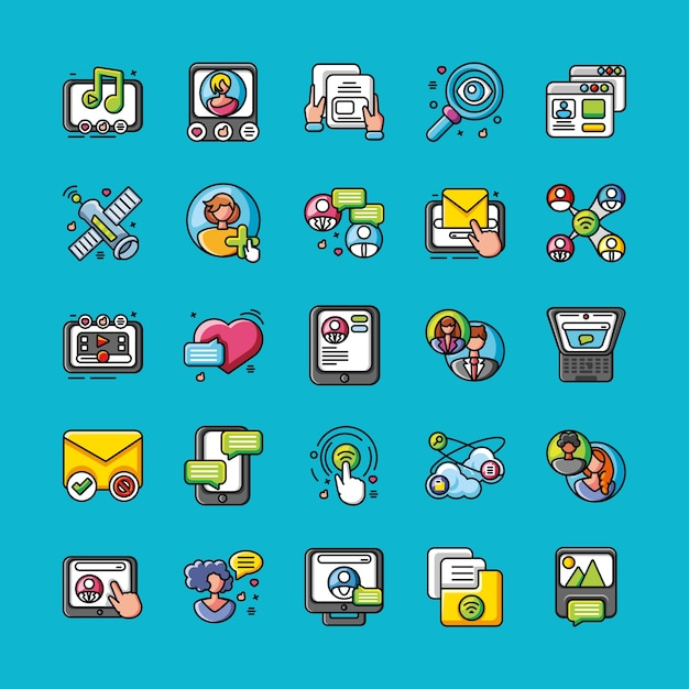 Ensemble de réseau social d'icônes sur la conception d'illustration bleue