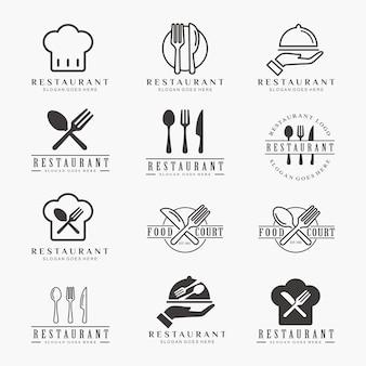 Ensemble de restaurant, modèle de logo café, nourriture,