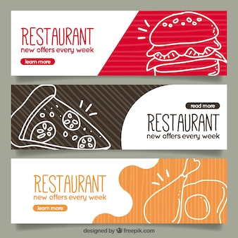 Ensemble de restaurants bannières avec des croquis alimentaires