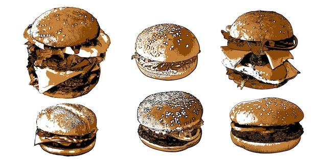Ensemble avec restauration rapide 1ensemble de différents types de hamburgers