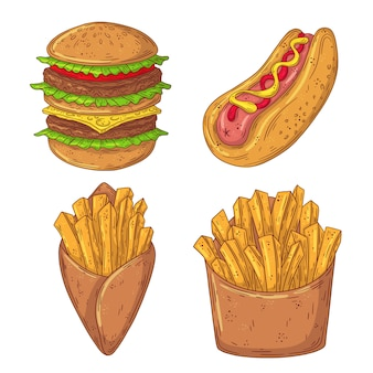 Ensemble de restauration rapide doodle dessiné à la main. burger, hot-dog, frites françaises.
