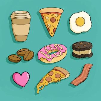 Ensemble de restauration rapide doodle avec pizza, bacon, beignet et café