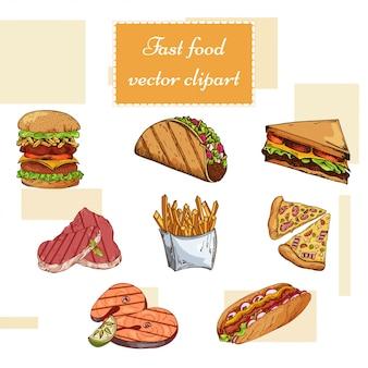 Ensemble de restauration rapide. illustration de tirage à la main. conception de burger vintage. éléments de nourriture américaine colorée