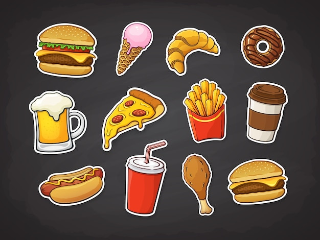 Ensemble de restauration rapide pizza burger hot dog frites beignet tasse de soda et café