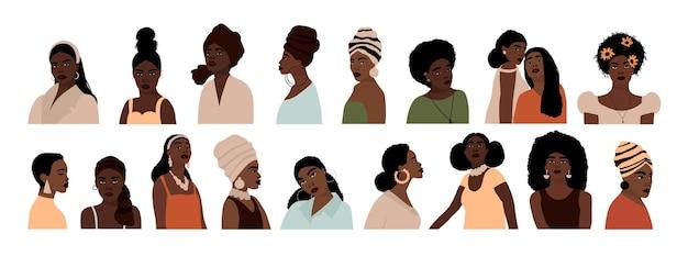 Ensemble, de, résumé, femme américaine africaine, portraits, isolé, blanc
