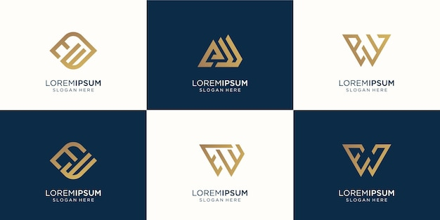Ensemble, de, résumé, lettre e, et, lettre w, combinaison., symbole, pour, entreprise, inspiration, technologie, luxe., design, template., premium, vecteur