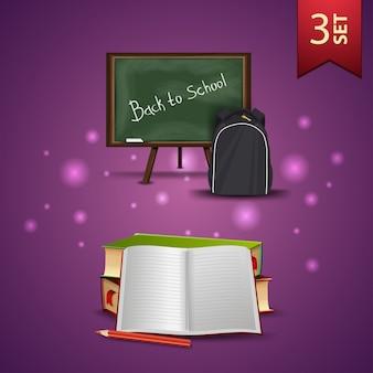 Ensemble de retour à l'école icônes 3d, commission scolaire, sac à dos scolaire, manuels scolaires et cahier