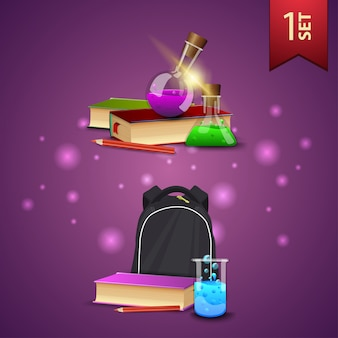 Ensemble de retour à l'école des icônes 3d, des livres, des flacons de produits chimiques et sac à dos scolaire